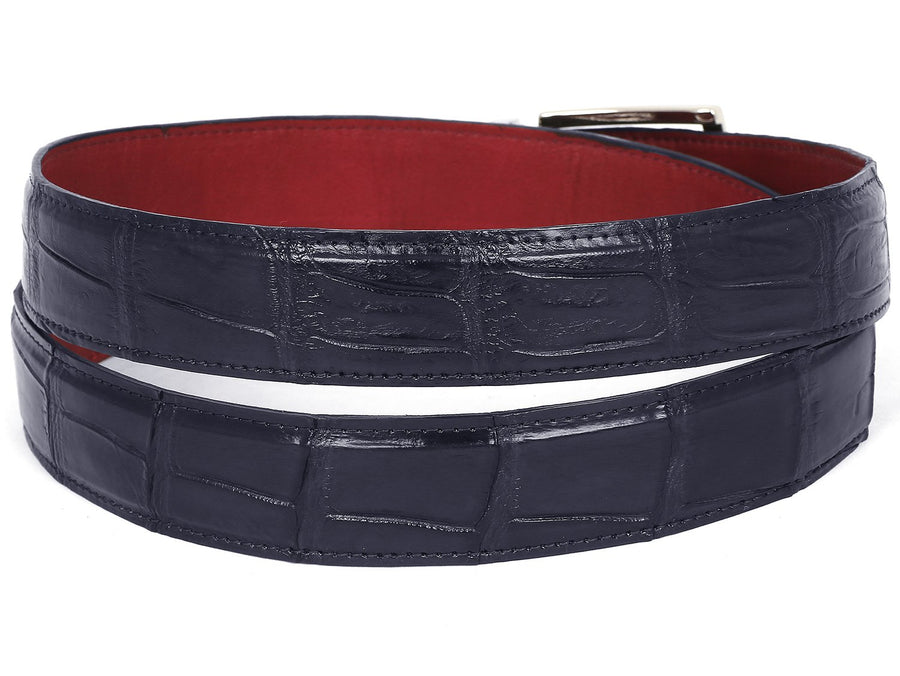PAUL PARKMAN Men's Navy Genuine Crocodile Belt Small