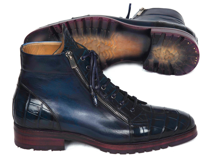 Paul Parkman Blue Genuine Crocodile & Calfskin Side Zipper Boots EU 38 - US 6