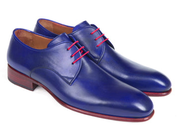 Paul Parkman Blue Hand Painted Derby Shoes EU 38 - US 6