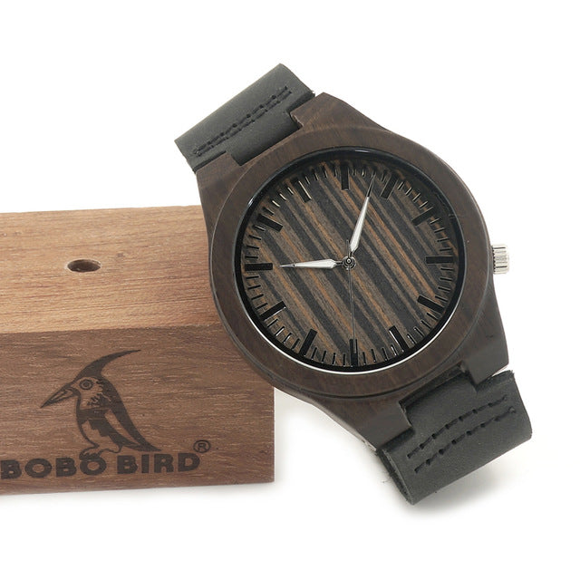 100% Natural Ebony Wooden Bamboo Watches