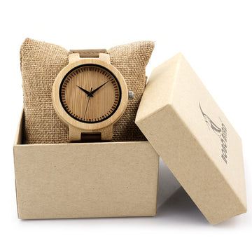 Simple Men Watches Bamboo Case Leather