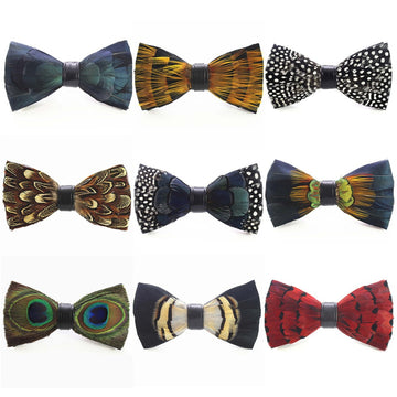 Peacock Feather Bow Ties - Select Style Black C