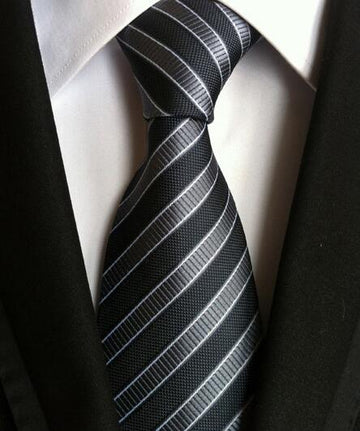 100% Silk Jacquard Black/Grey Striped Necktie