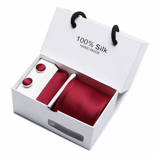 Silk Tie Set - Necktie, Pocket Square, Cufflinks SB03