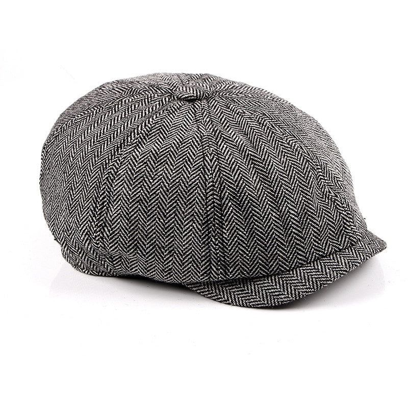 Herringbone Tweed Newsboy Hat