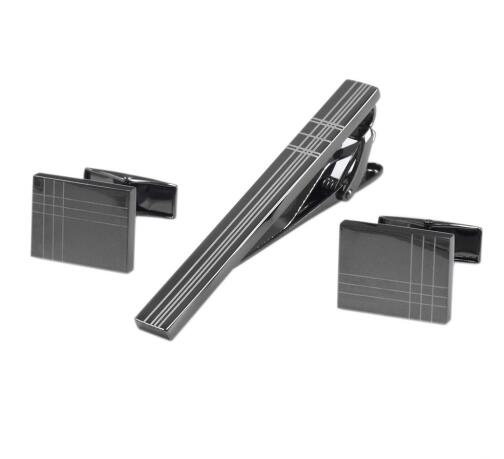 Square Laser Tie Bar and Cufflinks Set