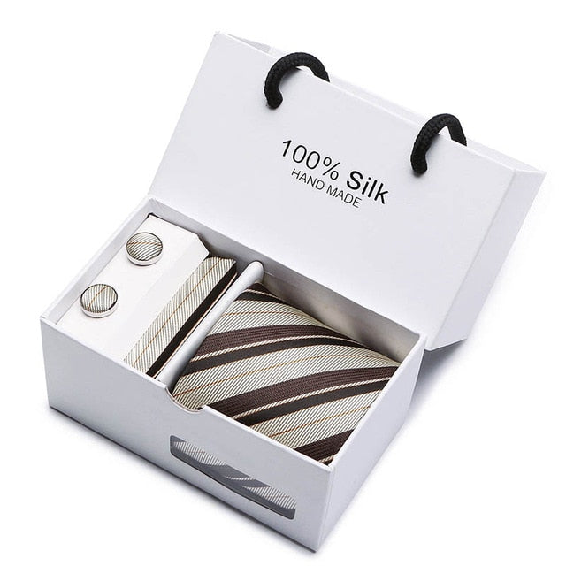 Silk Tie Set - Necktie, Pocket Square, Cufflinks SB15