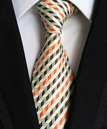 100% Silk Jacquard Chevron Striped Necktie