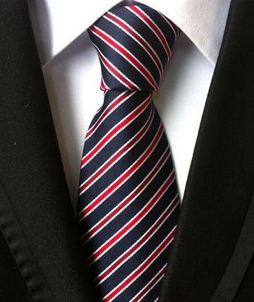 100% Silk Jacquard Navy/Red Striped Necktie