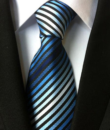 100% Silk Jacquard Blue Ombre Striped Necktie