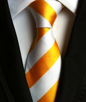 100% Silk Jacquard Wide Yellow Striped Necktie