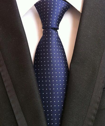100% Silk Jacquard Blue Swiss Dots Necktie