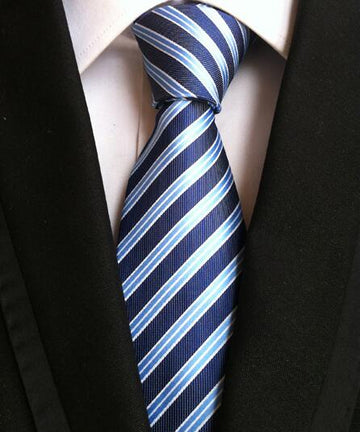 100% Silk Jacquard Blue Double Striped Necktie