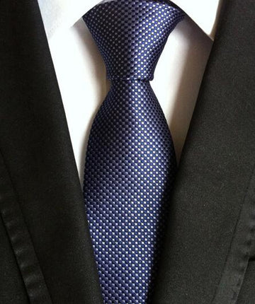 100% Silk Jacquard Blue / Grey Swiss Dots Necktie