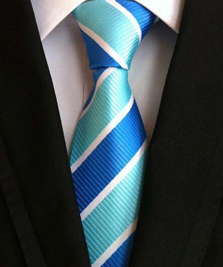 100% Silk Jacquard Wide Blue Striped Necktie