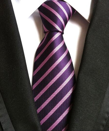 100% Silk Jacquard Purple Striped Necktie