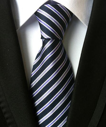 100% Silk Jacquard Navy/Purple Striped Necktie