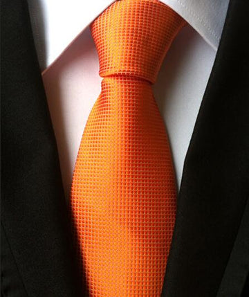 100% Silk Jacquard Orange Necktie