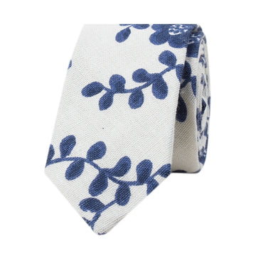 Blue And White Floral Necktie