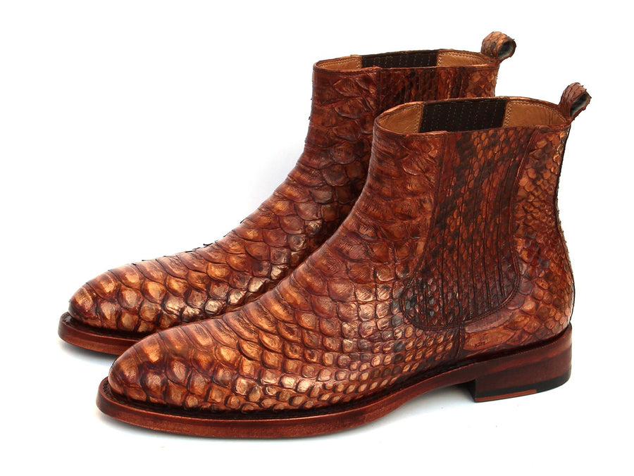 Paul Parkman Goodyear Welted Python Boots Brown EU 39 - US 6.5 / 7