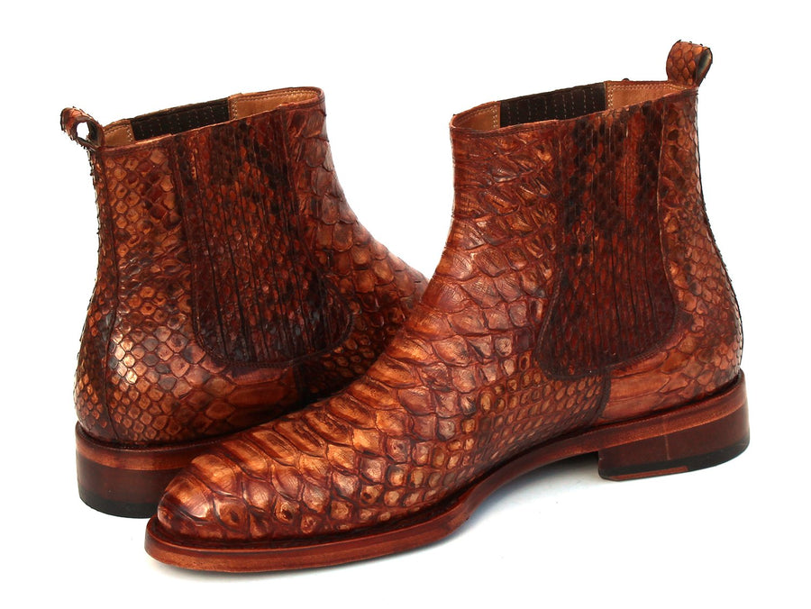 Paul Parkman Goodyear Welted Python Boots Brown EU 40 - US 7.5