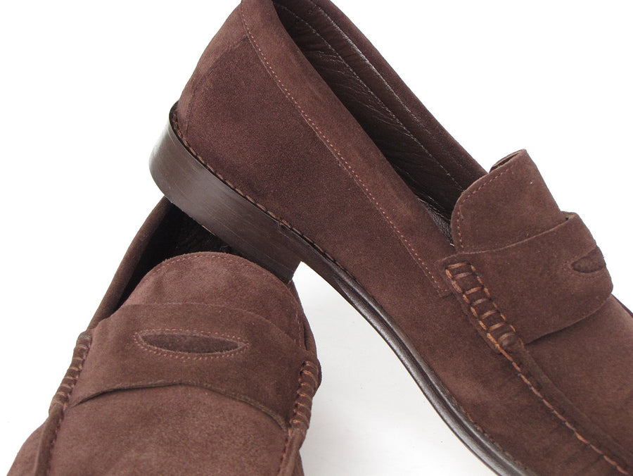 Paul Parkman Brown Suede Penny Loafers