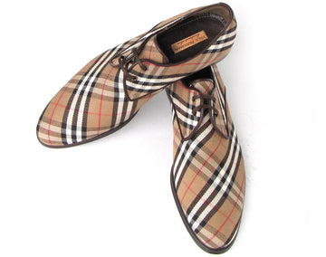 Paul Parkman Beige & Brown Plaid Canvas Derby Shoes EU 44 - US 10,5 / 11