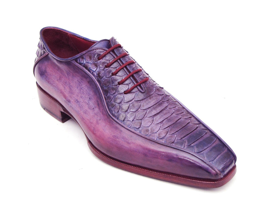 Paul Parkman Purple Genuine Python & Calfskin Bicycle Toe Oxfords