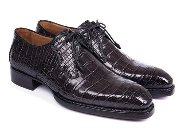 Paul Parkman Black Genuine Crocodile Derby Shoes for Men EU 38 - US 6