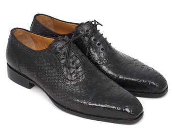 Paul Parkman Black Genuine Python Captoe Oxfords EU 38 - US 6