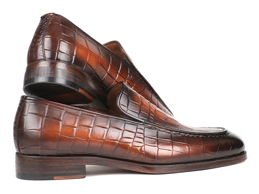 Paul Parkman Brown Burnished Crocodile Embossed Calfskin Loafer EU 38 - US 6