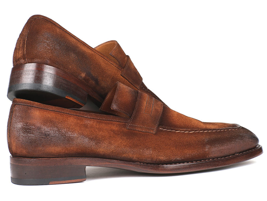 Paul Parkman Brown Antique Suede Goodyear Welted Loafers EU 38 - US 6