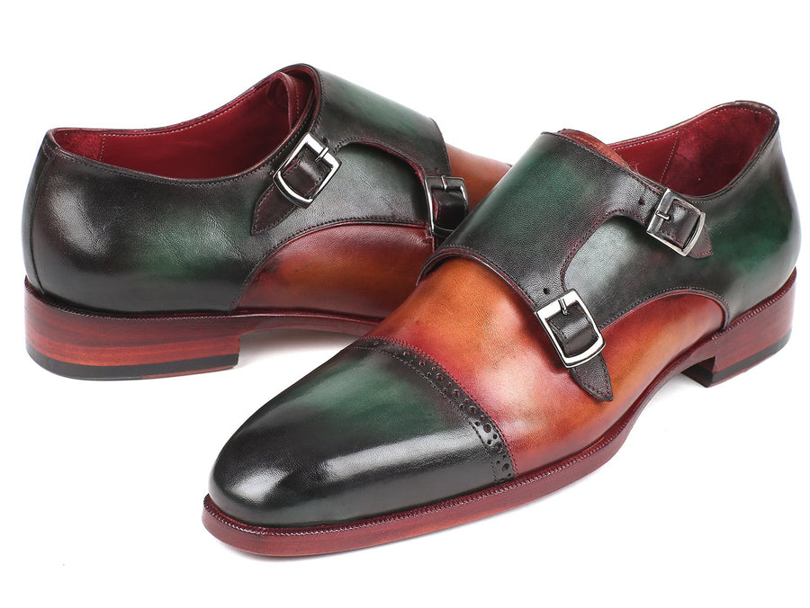 Paul Parkman Captoe Double Monkstraps Green & Camel EU 38 - US 6