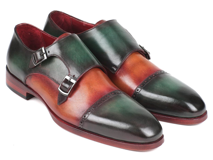 Paul Parkman Captoe Double Monkstraps Green & Camel '-----
