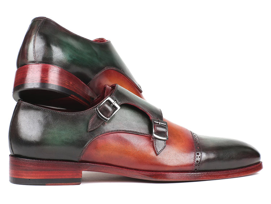 Paul Parkman Captoe Double Monkstraps Green & Camel EU 39 - US 6.5 / 7
