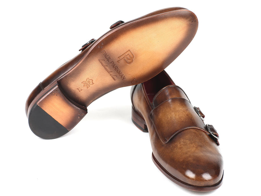 Paul Parkman Men's Double Monkstraps Olive EU 39 - US 6.5 / 7