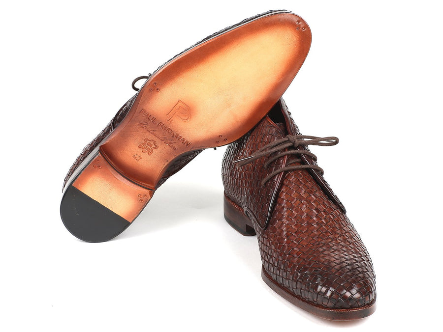 Paul Parkman Men's Brown Woven Leather Chukka Boots EU 42 - US 9 / 9.5