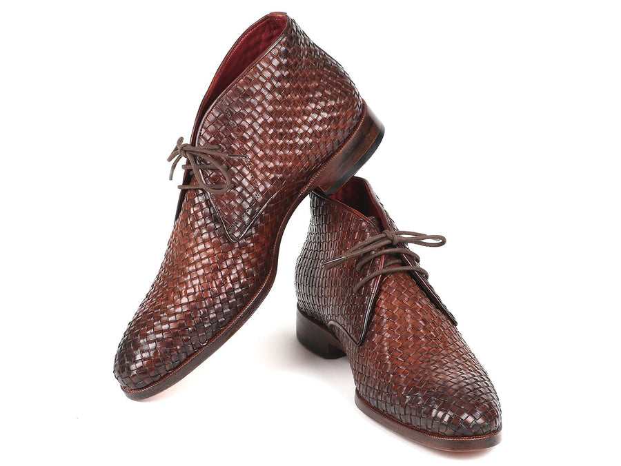Paul Parkman Men's Brown Woven Leather Chukka Boots EU 41 - US 8 / 8.5