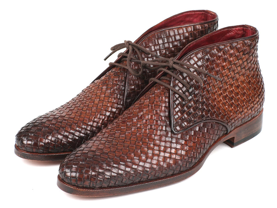 Paul Parkman Men's Brown Woven Leather Chukka Boots EU 40 - US 7.5