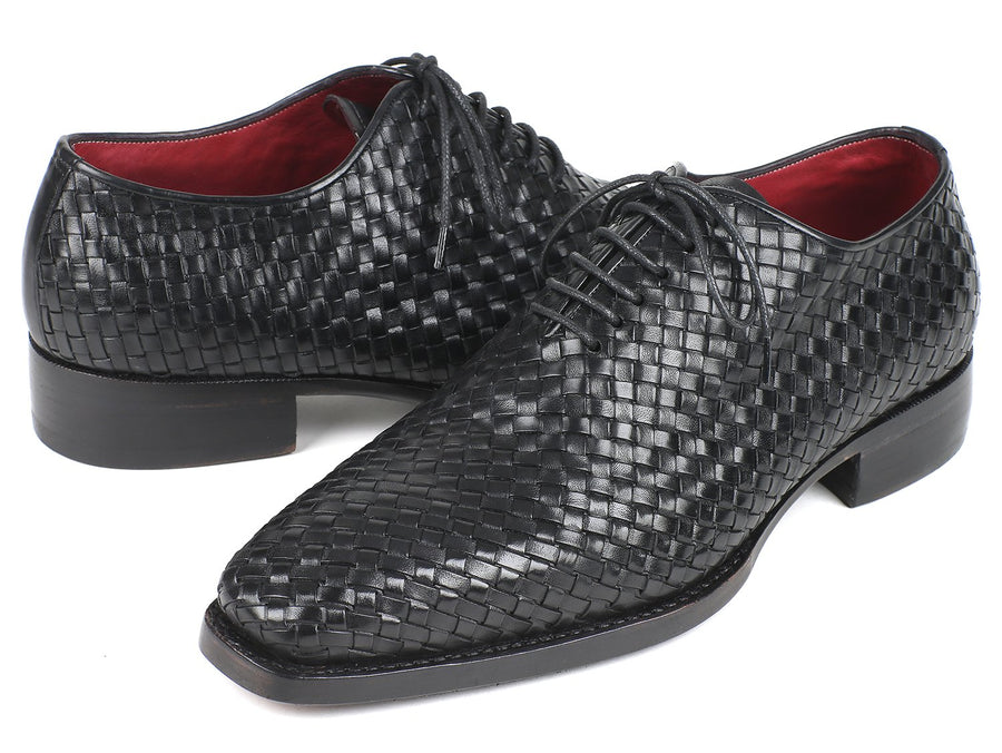 Paul Parkman Men's Black Woven Leather Oxfords EU 38 - US 6