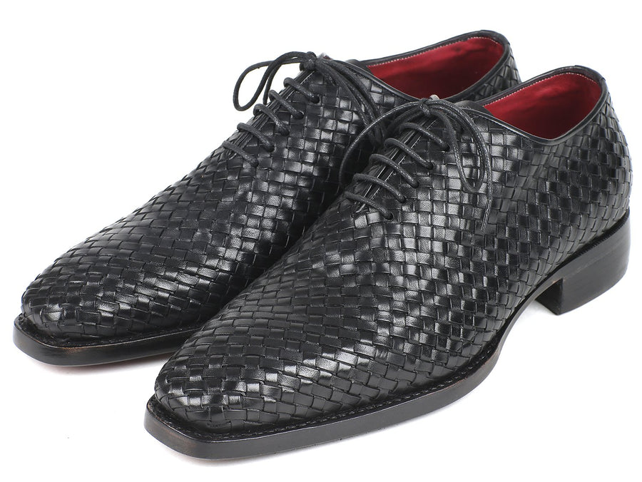 Paul Parkman Men's Black Woven Leather Oxfords EU 40 - US 7.5