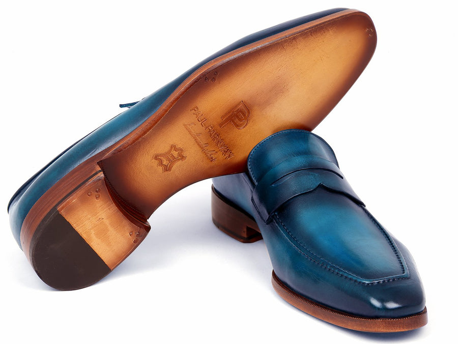 Paul Parkman Men's Penny Loafer Blue & Turquoise Calfskin EU 38 - US 6