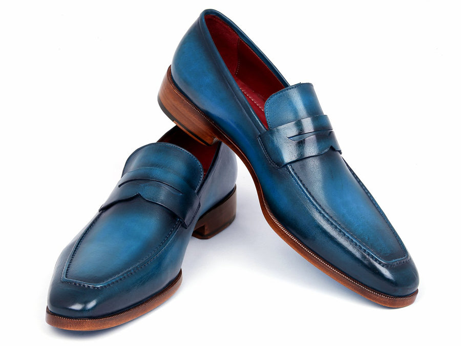 Paul Parkman Men's Penny Loafer Blue & Turquoise Calfskin EU 39 - US 6.5 / 7