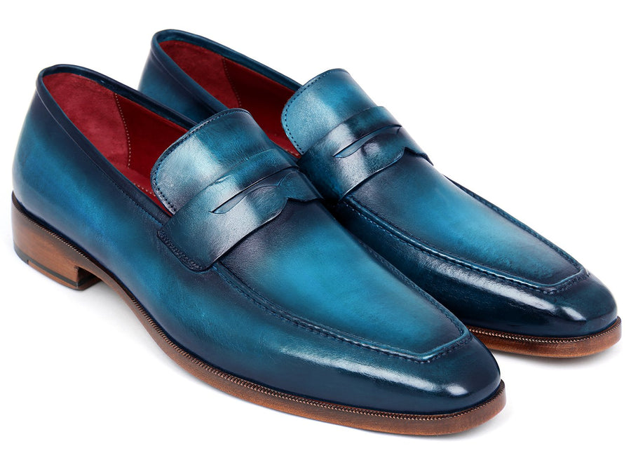 Paul Parkman Men's Penny Loafer Blue & Turquoise Calfskin '-----