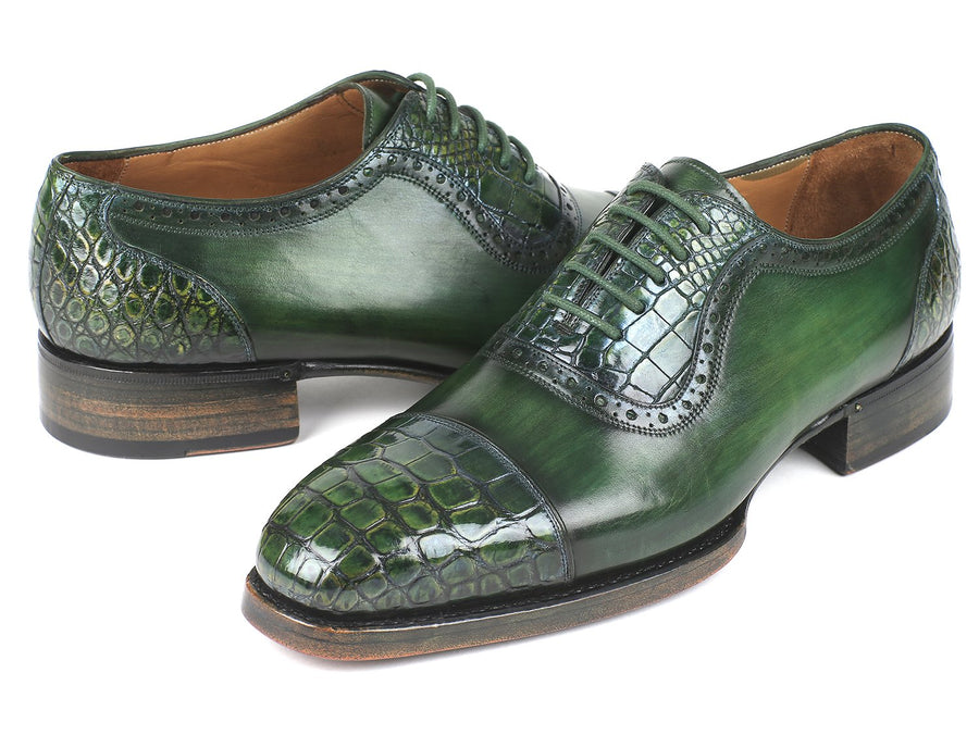 Paul Parkman Green Genuine Crocodile & Calfskin Captoe Oxfords
