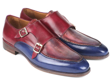 Paul Parkman Blue & Bordeaux Double Monkstraps EU 38 - US 6