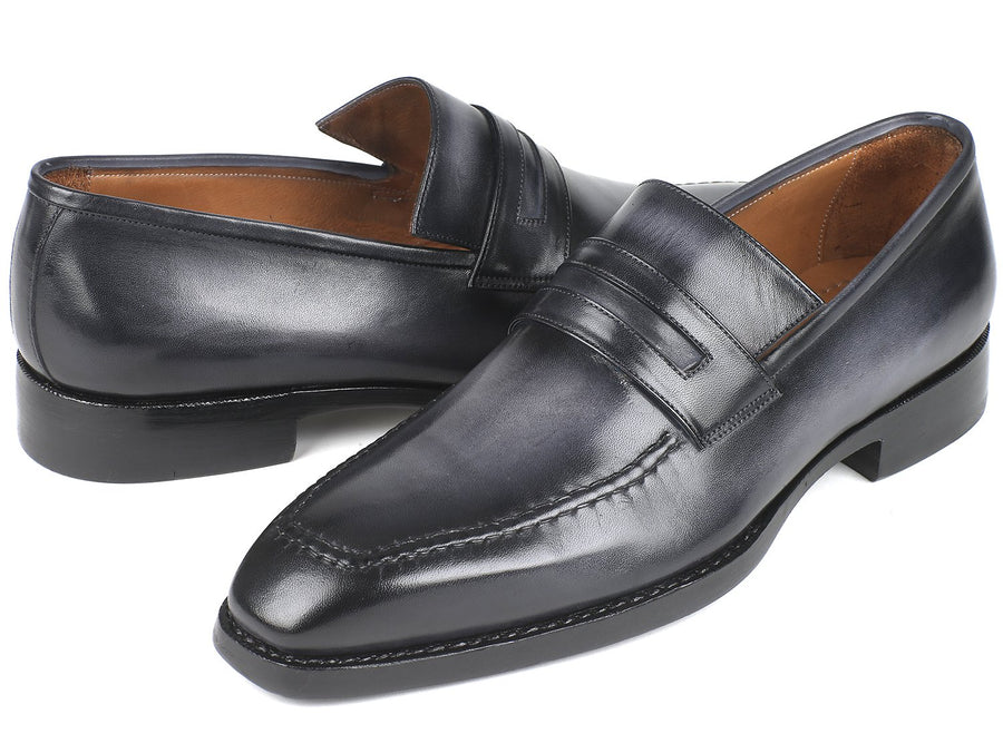 Paul Parkman Gray Burnished Goodyear Welted Loafers EU 38 - US 6
