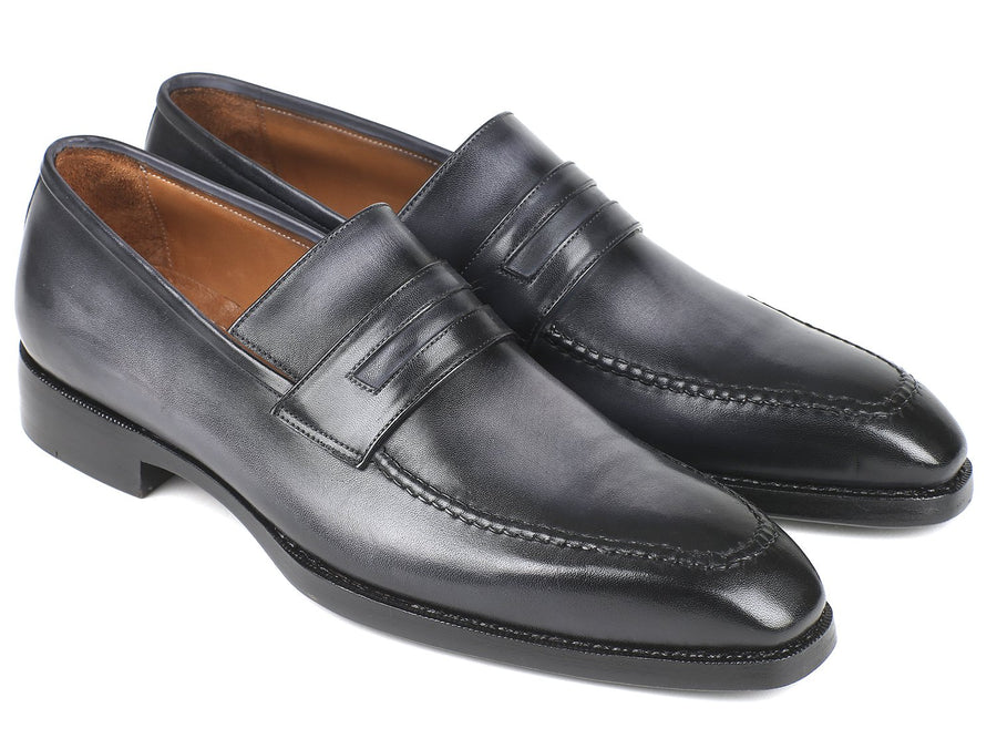 Paul Parkman Gray Burnished Goodyear Welted Loafers '-----