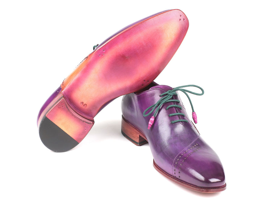 Paul Parkman Opanka Construction Purple Hand-Painted Oxfords EU 40 - US 7.5