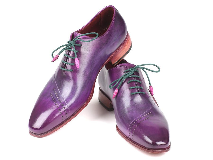 Paul Parkman Opanka Construction Purple Hand-Painted Oxfords EU 41 - US 8 / 8.5